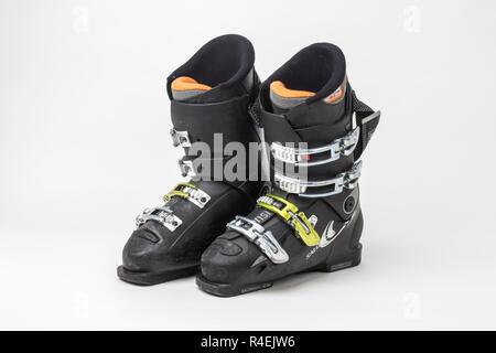 Used ski boots - Stock Photo