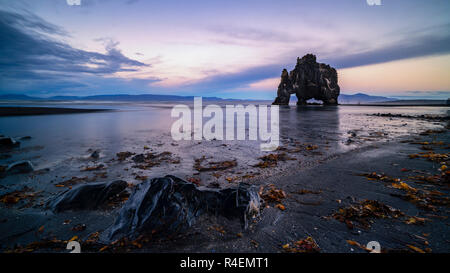 Hvitserkur at dusk, Iceland - Stock Photo