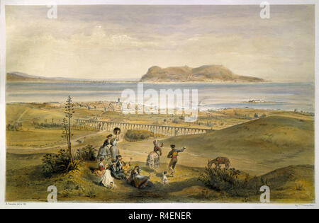 VISTA GENERAL DE GIBRALTAR DESDE ALGECIRAS - LITOGRAFIA DEL SIGLO XIX. Author: GUESDON, ALFRED. Location: PRIVATE COLLECTION. MADRID. SPAIN. - Stock Photo