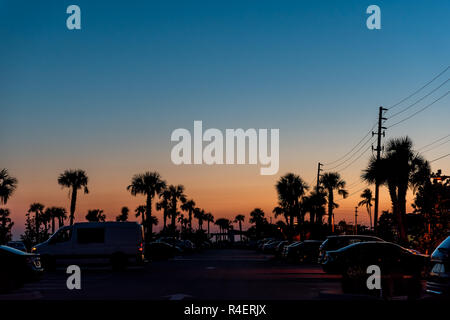 Silhouette of palm trees leaves against sky in Siesta Key, Sarasota, Florida with pink orange blue sky, power lines, cars parked in beach parking lot - Stock Photo