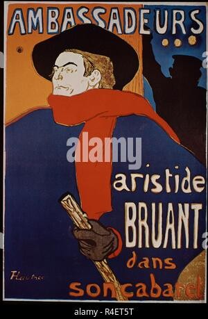Poster advertising Aristide Bruant in his cabaret at the Ambassadeurs - 1892 - 127x92 cm - lithograph. Author: TOULOUSE-LAUTREC, HENRI DE. Location: PRIVATE COLLECTION. France. - Stock Photo