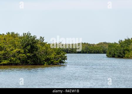 Sanibel Island, USA Bowman's beach with landscape view of Bayou from bridge, nobody, river bay - Stock Photo
