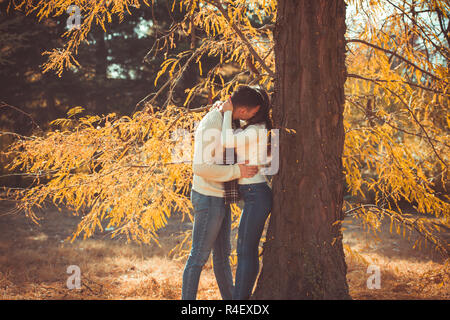 Beautiful couple is in the park, standing next to a tree with yellow leaves, they are kissing and hugging - Stock Photo