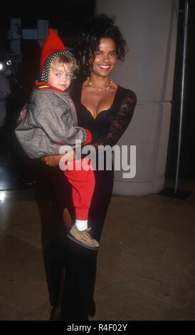 BEVERLY HILLS, CA - FEBRUARY 26: Actress Victoria Rowell and daughter Maya Fahey attend the Ninth Annual Soap Opera Digest Awards on February 26, 1993 at the Beverly Hilton Hotel in Beverly Hills, California. Photo by Barry King/Alamy Stock Photo - Stock Photo