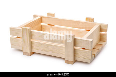 Empty decorative wooden crate isolated on white - Stock Photo