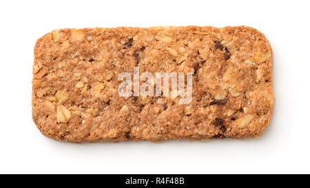 Top view of muesli cookie bar isolated on white - Stock Photo