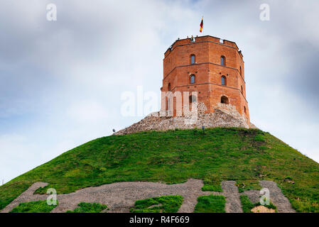 Gediminas' Tower is the remaining part of the Upper Castle in Vilnius, Vilnius County, Lithuania, Baltic states, Europe. - Stock Photo