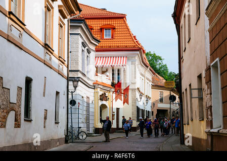 Lively street in the old town. Vilnius, Vilnius County, Lithuania, Baltic states, Europe. - Stock Photo
