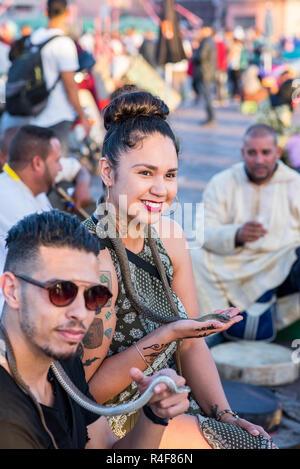Snake Cobra Show in Fnaa, Marrakech, Morocco. - Stock Photo
