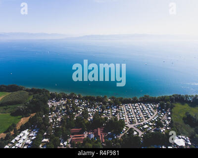 Aerial view of Bodensee, a lake in Germany, Austria and Switzerland, shot from drone - Stock Photo