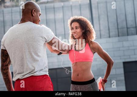 Nice attractive woman trying to keep balance