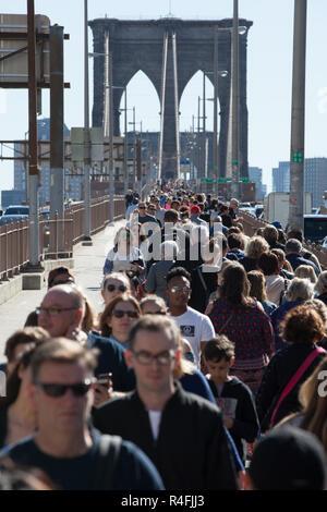 Pedestrians on Brooklyn Bridge, New York City