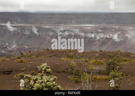 Hawaii Volcanoes National Park, Hawaii - Steam vents in the Kilauea caldera folling the 2018 volcanic eruption. - Stock Photo