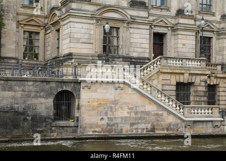 Sandstone facade with staircase balustrade from the berliner dom (berlin cathedral) on the river spree in the central Mitte district of Berlin, capita - Stock Photo