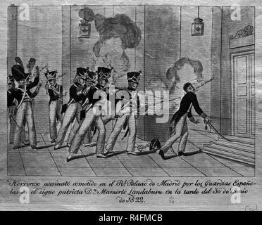 HORROROSO ASESINATO DE MARMERTO LANDABURU COMETIDO EN EL PALACIO REAL DE MADRID POR LOS GUARDIAS ESPAÑOLES EL 30 DE JUNIO DE 1822. Location: PRIVATE COLLECTION. - Stock Photo