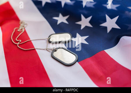 24046962e1ae ... close up of american flag and military badges - Stock Photo