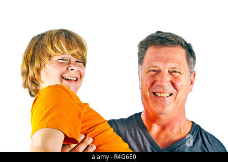 father and happy son hugging - Stock Photo