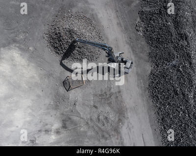 Degraded landscape in south of Poland. Destroyed land. View from above. - Stock Photo