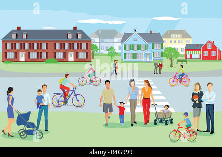 go families stroll at leisure - Stock Photo