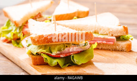 Photo of sandwiches on table - Stock Photo