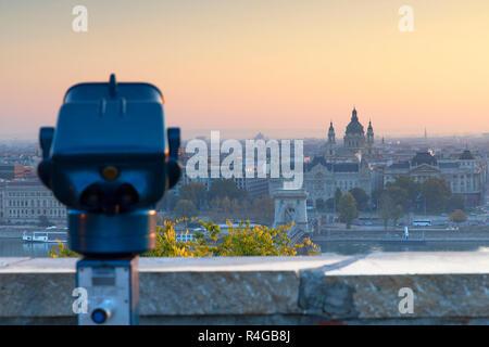 Chain Bridge (Szechenyi Bridge) and St Stephen's Basilica at sunrise, Budapest, Hungary - Stock Photo