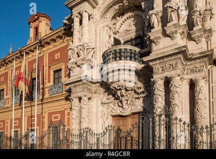 San Telmo Palace (Palacio de San Telmo), a 1600's baroque palace used as HQ for Regional Government of Andalucia, Calle Palos de la Frontera, Seville. - Stock Photo