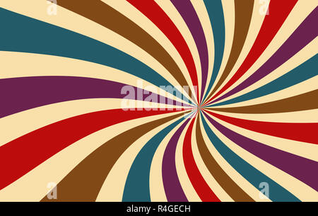 retro starburst or sunburst background pattern with a dark vintage color palette of red purple blue brown and beige in a spiral or swirled line - Stock Photo