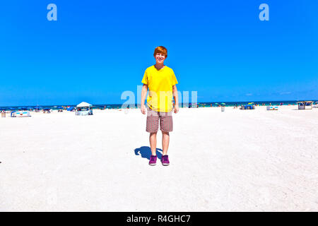 smart boy at the beach in South Miami - Stock Photo