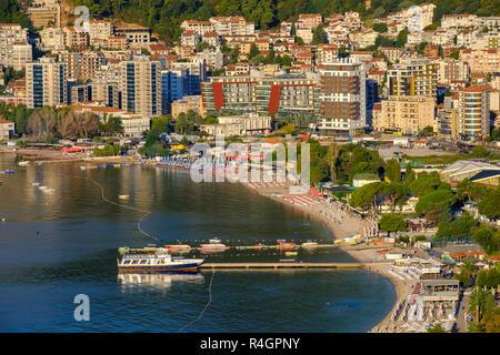 Holiday resort Slovenska Plaza with beach and hotels, Budva, Adriatic coast, Montenegro - Stock Photo