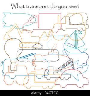 Find hidden objects on the picture, transport theme, mishmash contour set, fun education game for kids, preschool activity for children, vector - Stock Photo