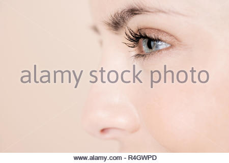 Detail of young woman's face showing left eye, cheek and nose - Stock Photo
