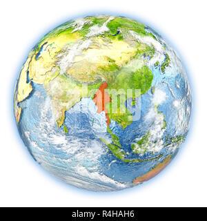 Myanmar on Earth isolated - Stock Photo