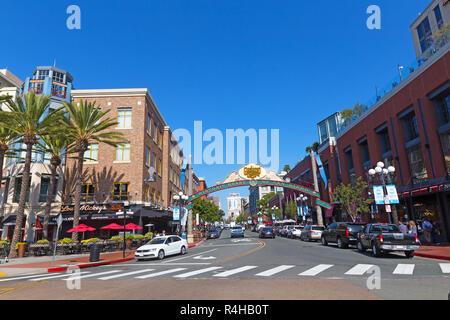 SAN DIEGO, CALIFORNIA, USA – NOVEMBER 6, 2018: The Gaslamp Quarter in San Diego, California. Historic arch of San Diego during the world-class global  - Stock Photo