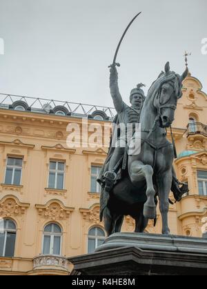 Statue of ban Josip Jelacic on main square in Zagreb, Croatia - Stock Photo