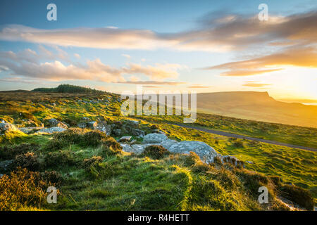 This is a picture on the top of Binevenagh mountain in Northern Ireland.  It was taken just before sunset - Stock Photo