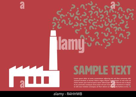 Graphic vector template with question marks being emitted from factory chimney and sample text on red background - Stock Photo