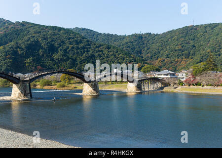 Kintaikyo Bridge in Iwakuni city - Stock Photo
