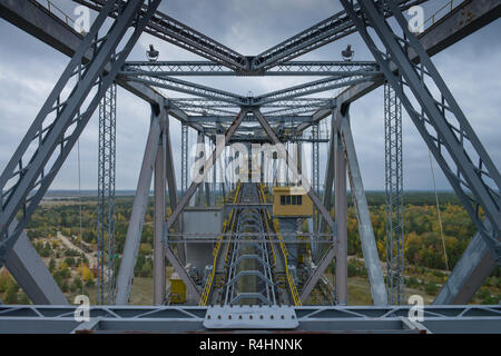Visitor's mine overburden conveyor bridge F60, light field, administrative district Elbe magpie, Brandenburg, Germany, Besucherbergwerk Abraumförderbr - Stock Photo