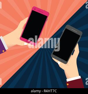 Design business concept Empty copy text for Web banners promotional material mock up template. Two Hu analysis Hands Each Holding Blank Smartphone Mob - Stock Photo