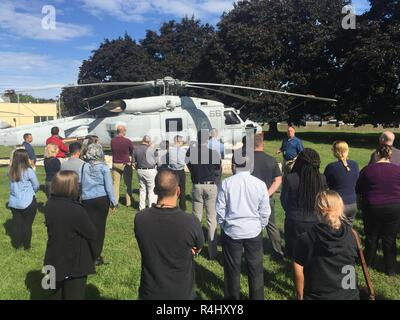 PHILADELPHIA (Sep. 27, 2018) – Newer employees of NAVSUP Weapon Systems Support were provided a tour and description of the aircraft adorning the front lawn of NAVSUP WSS's Building 1 as part of a week-long NAVSUP WSS academy recently held in late September to provide employees a better appreciation and understanding of the organization and its role as the Navy's Program Support Inventory Control Point. Nearly 50 NAVSUP WSS employees gathered for the 48th NAVSUP WSS Academy, held in Philadelphia. - Stock Photo