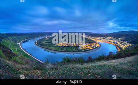 Picturesque bend of the Rhine river near the town Boppard at dusk, Germany, Rhineland-Palatinate - Stock Photo