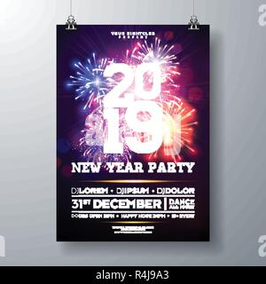 2019 new year party celebration poster illustration with typography design and firework on shiny colorful background