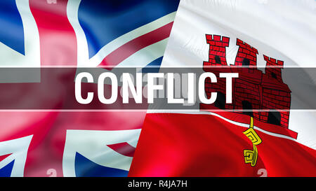 Gibraltar and UK flags. Brexit 3D Waving flag design. Gibraltar UK flag, pictures, wallpaper, image. Gibraltar UK territory conflict,trade concept. Th - Stock Photo
