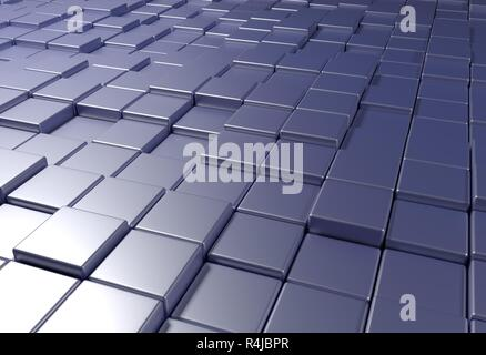 wall of uneven tiles brick or cubes, 3d illustration - Stock Photo