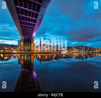 Reflections along Newcastle quayside at twilight, Newcastle upon Tyne, Tyne & Wear, England, United Kingdom
