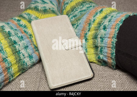 knitted socks - Stock Photo
