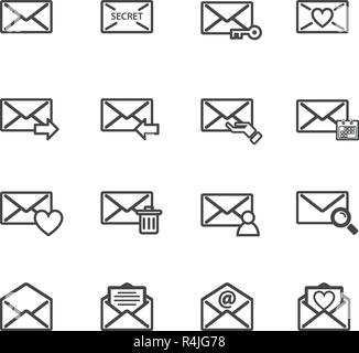 Envelope letter and e-mail vector icon set. Electronics and computer concept. Sign and symbol theme. illustration vector - Stock Photo