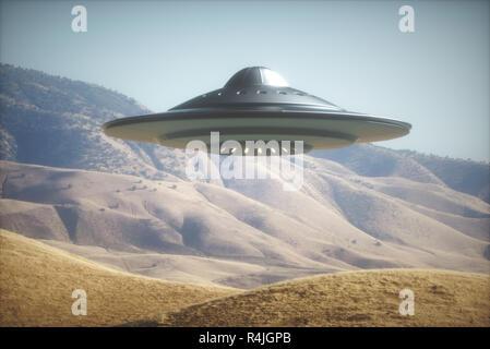 Alien Spaceship On Earth - Stock Photo
