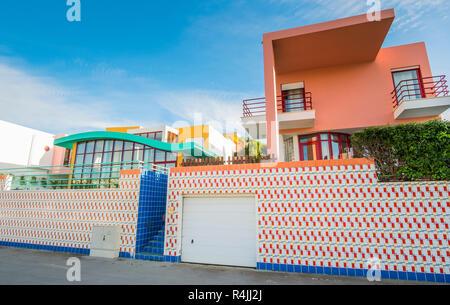 postmodern architecture at albufeira marina, albufeira, algarve, portugal - Stock Photo