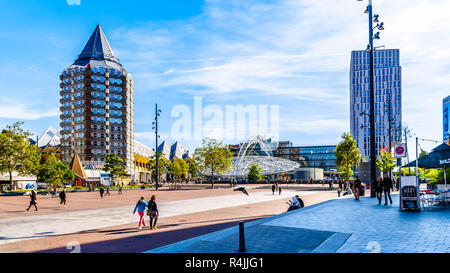 Blaak Station is with the disc shaped overhead steel structure in the center of Rotterdam near Market Hall square, the Netherlands - Stock Photo